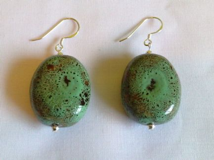 Sterling Silver Green Ceramic Earrings